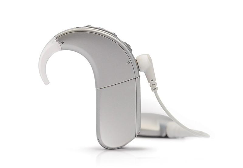 Naída CI Q90 spraakprocessor met oorhaak en Zink-luchtbatterijpak in de kleur Silver Gray
