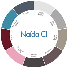 Beschikbare kleuren van de Naída CI Q Series spraakprocessoren (Alpine White, Silver Gray, Sand Beige, Chestnut, Velvet Black, Princess Pink, Ruby, Caribbean Pirate, Petrol)